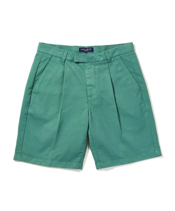 Cotton Twill Shorts - Pleat Front - Sea Green
