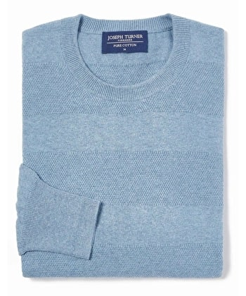 Cotton Textured Stripe Jumper - Crew Neck - Light Blue