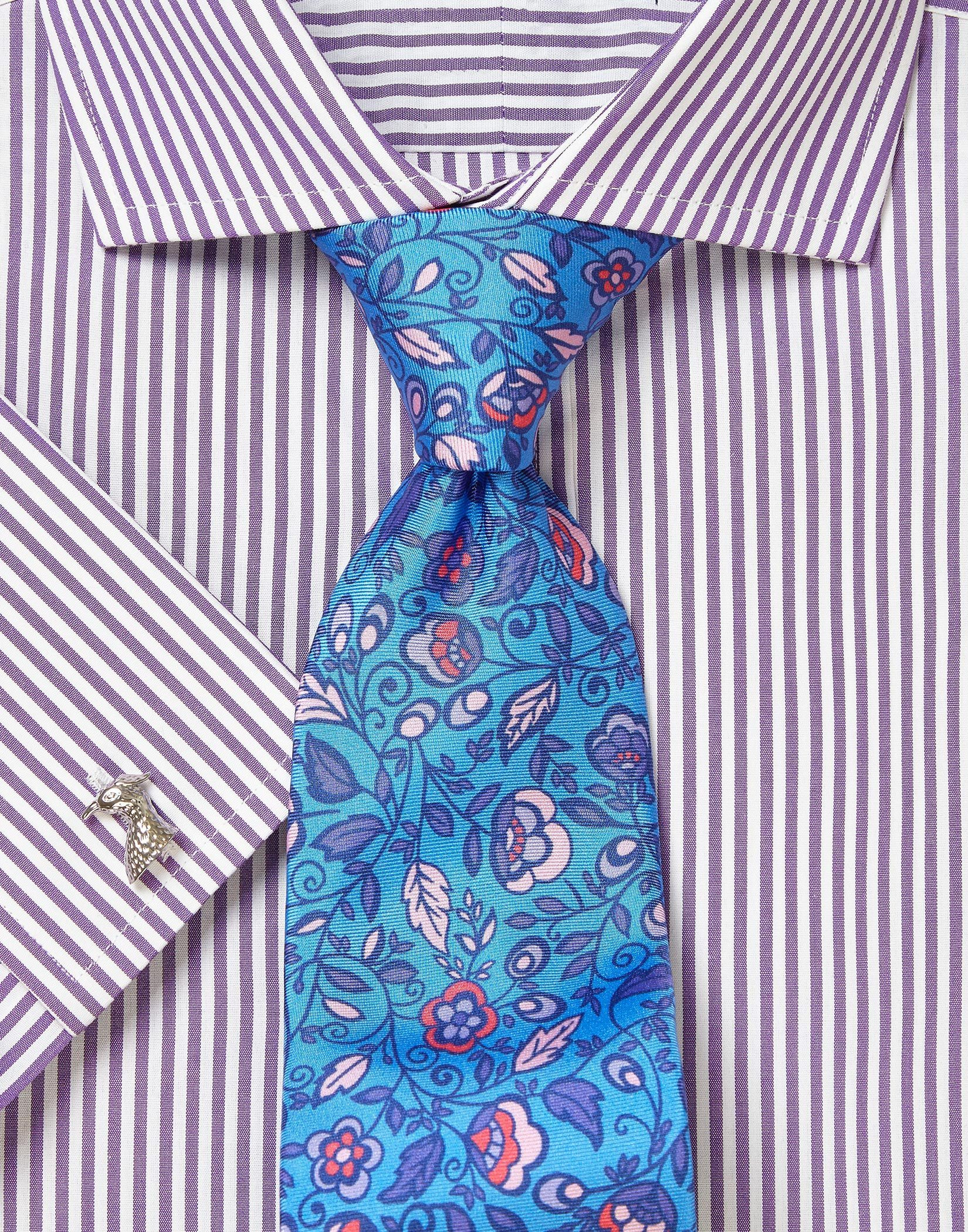 Purple Bengal Cutaway Collar Shirt