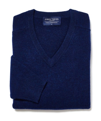 Lambswool Jumper - V Neck - Indigo