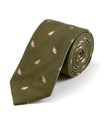 Partridges on Olive Wool/Silk Tie