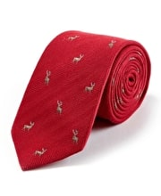 Stags on Red Wool/Silk Tie