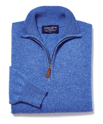 Lambswool Jumper - Half Zip - Mid Blue