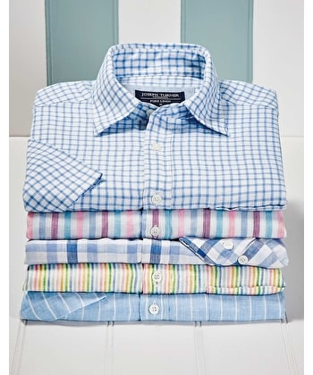 Linen Shirt - Long Sleeve - Blue/White Gingham