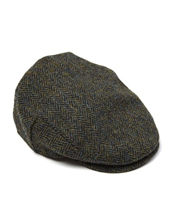Harris Tweed Flat Cap - Dark Green Herringbone