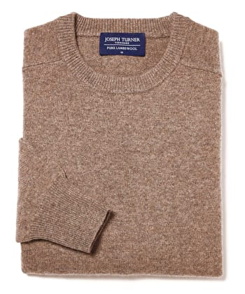 Lambswool Jumper - Crew Neck - Brown