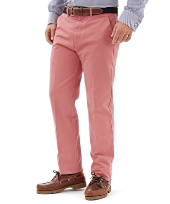 Flat Front Chinos - Washed Red