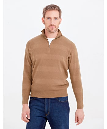 Cotton Textured Stripe Jumper - Half Zip - Dark Tan