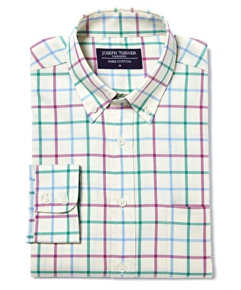 Button-Down Tattersall Check - Magenta/Teal