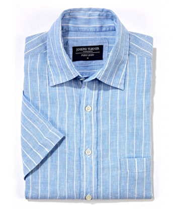 Linen Shirt - Short Sleeve - Blue/White Stripe