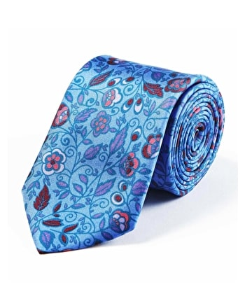 Floral on Blue Printed Silk Tie