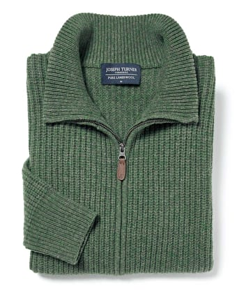 Lambswool Whitby Zip Cardigan - Green