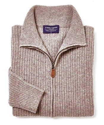 Lambswool Whitby Zip Cardigan - Cobble