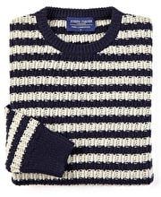 Lambswool Striped Rib Crew Neck - Navy/Stone
