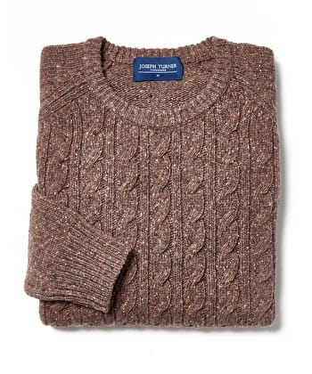 Donegal Cable - Crew Neck - Brown