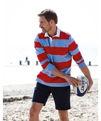 Rugby Shirt - Blue/Red Pique