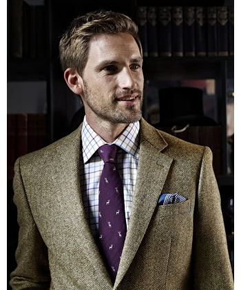 Dales Tweed Jacket - Light Brown Herringbone