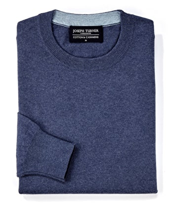 Cotton/Cashmere - Crew Neck - Denim