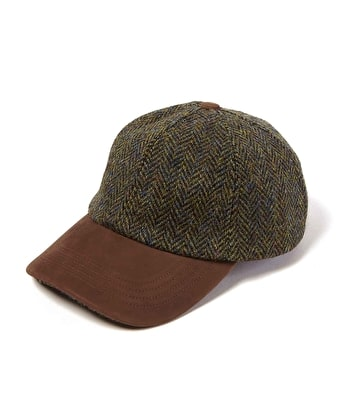 Peaked Cap - Dark Green Harris Tweed