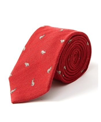 Woven Wool/Silk Tie - Hare on Red