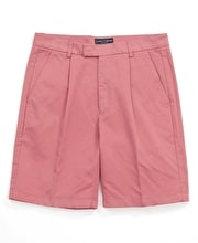 Cotton Twill Shorts - Pleat Front - Washed Red