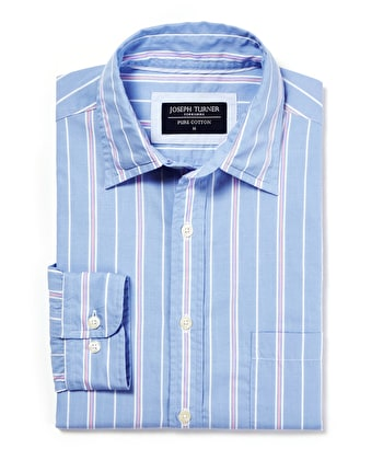 Weekend Shirt - Long Sleeve - Blue/Pink Stripe