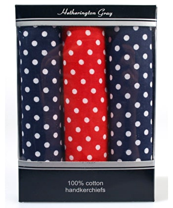 3 Boxed Polka Dot Handkerchiefs - 2 Blue/1 Red