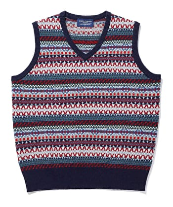 Fair Isle Slip-Over - Blue/Red