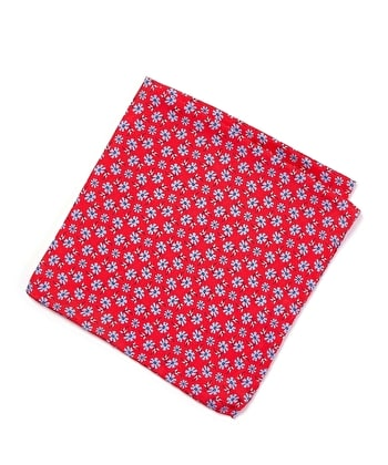 Silk Pocket Square - Blue Flower on Red