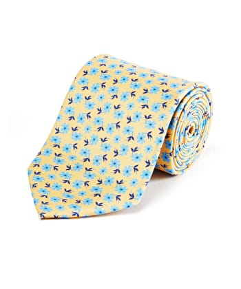 Blue Flower on Yellow Printed Silk Tie