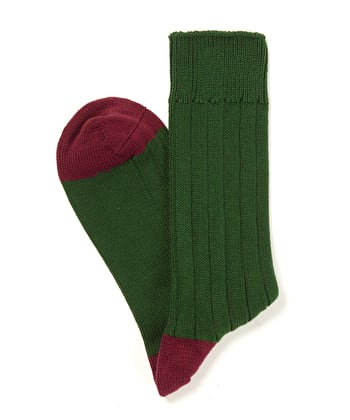 Heel & Toe Cotton Socks - Green/Burgundy