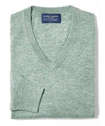 Wool/Cashmere Jumper - V Neck - Sage