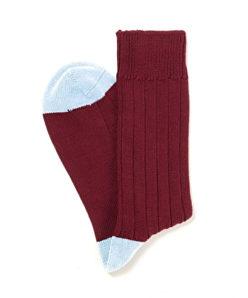 Heel & Toe Cotton Socks - Burgundy/Sky