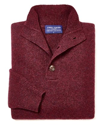 Shetland Jumper - Button Neck - Burgundy