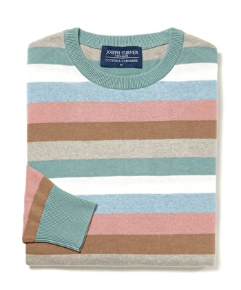 Cotton/Cashmere Stripe Jumper - Green/Blue/Pink