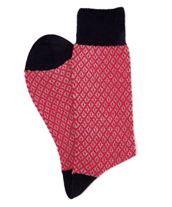 Diamond Knit Socks - Red/Navy