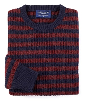 Lambswool Striped Rib Crew Neck - Navy/Red