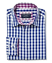 Casual Gingham Check Shirt - Navy Gingham