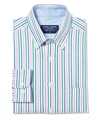 Button-Down Oxford Shirt - Green/Blue/Lilac