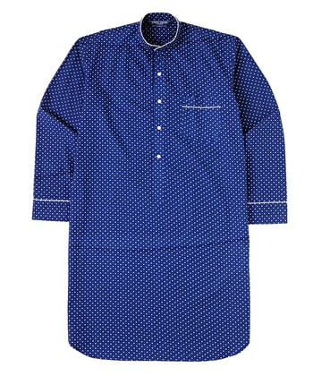 Nightshirt - Navy/White Polkadot - Fine Cotton