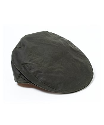 Harris Tweed Flat Cap - Olive Waxed Cotton
