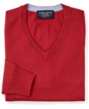 Merino Jumper - V Neck - Red
