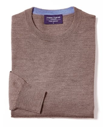 Merino Jumper - Crew Neck - Brown