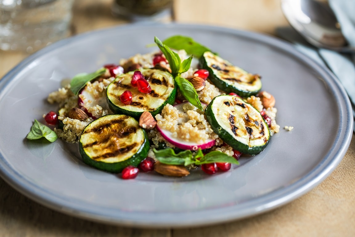 Quinoa, Grilled Courgette, Almond and Pomegranate Salad