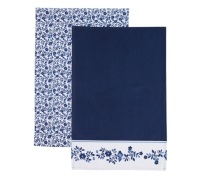KitchenCraft Traditional Blue Set of 2 Tea Towels