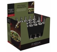 KitchenCraft World of Flavours Italian Display of 36 Oil & Vinegar Pouring Spouts