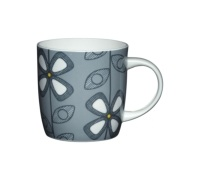 KitchenCraft Fine Bone China Grey Fifties Floral Barrel Mug
