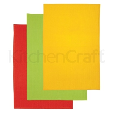 Kitchen Craft Set of 3 Bright Coloured Tea Towels