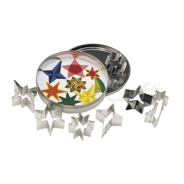 Kitchen Craft 7 Star Shaped Cookie Cutters With Metal Storage Tin