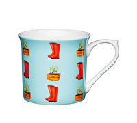 KitchenCraft Set of Four Fluted Fine Bone China Wellies Mugs